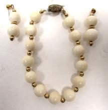 IVORY & SILVER BRACELET & EARRING SET MARKED
