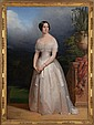 CLAUDE-MARIE DUBUFE (1790-1864): FULL LENGTH PORTRAIT OF EMPRESS EUGENIE DE MONTIJO, WIFE OF NAPOLEON III