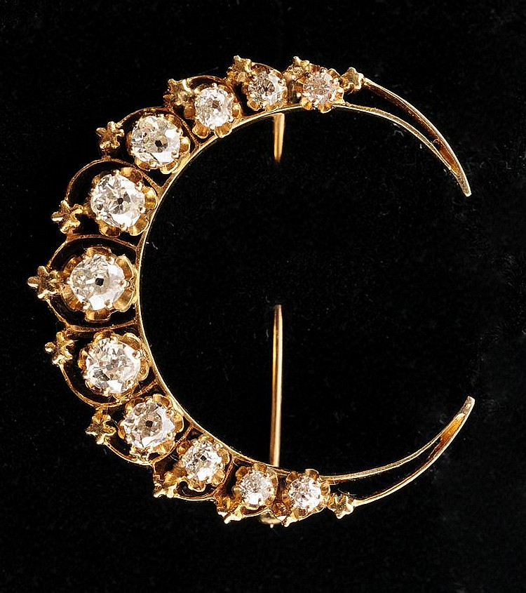 VICTORIAN 14K GOLD AND DIAMOND CRESCENT BROOCH