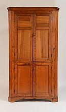 Federal Style Pine and Butternut Two-Door Corner Cupboard