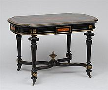 Victorian Gilt-Bronze-Mounted Ebony, Kingwood and Walnut Marquetry Center Table