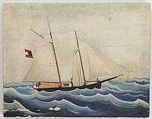 AMERICAN SCHOOL, 20TH CENTURY: SHIP ON THE OPEN SEA