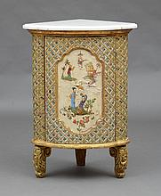 ITALIAN LATE ROCOCO PAINTED AND PARCEL-GILT CORNER CABINET