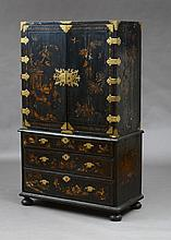 GEORGE I ETCHED-BRASS-MOUNTED BLACK LACQUER AND PARCEL-GILT CABINET ON CHEST