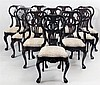 Set of Ten George II Style Mahogany Dining Chairs, by Ralph Lauren