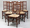 Six English Provincial-Style Oak Spindle-Back Chairs