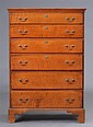 FEDERAL FIGURED MAPLE TALL CHEST OF DRAWERS