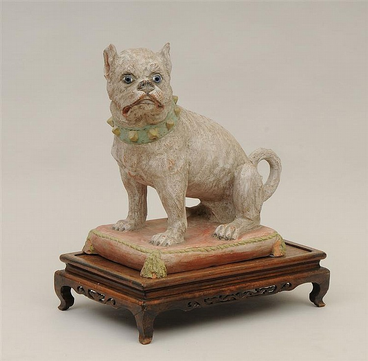 English Painted Terracotta Model of a Dog