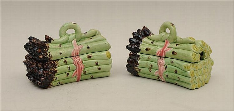 Pair of Continental Faience Asparagus-Formed Tureens