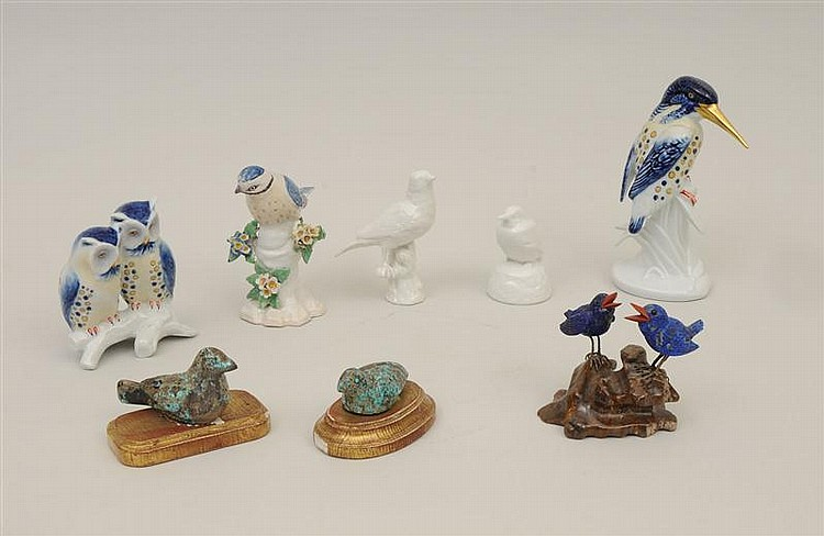 Miscellaneous Group of Porcelain, Pottery, Metal and Stone Birds