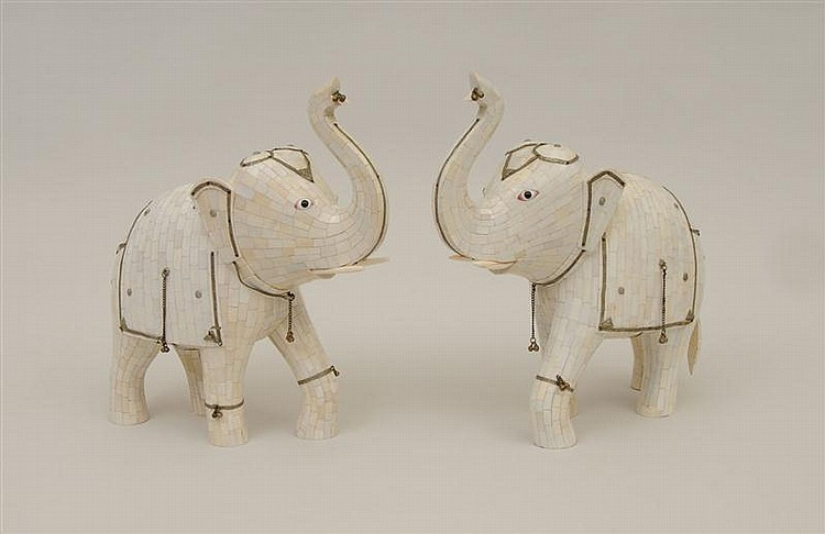 Pair of Indian Metal-Mounted Bone and Shell Elephants
