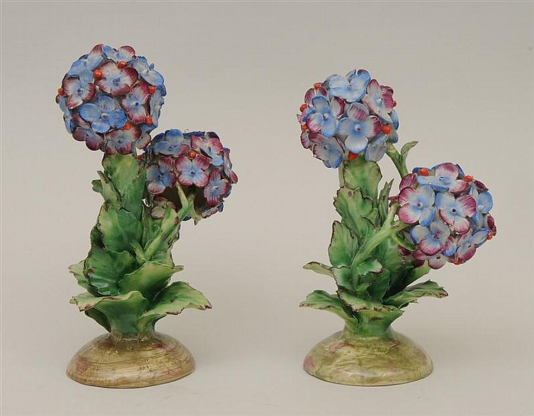 Pair of Italian Glazed Pottery Models of Hydrangeas