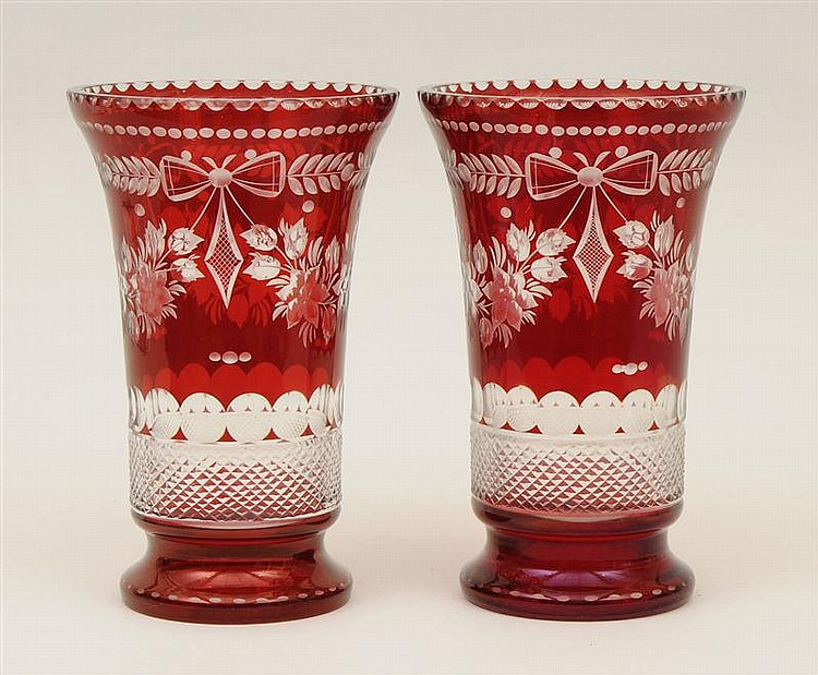 Pair of Bohemian Ruby Glass Cut to Clear Vases
