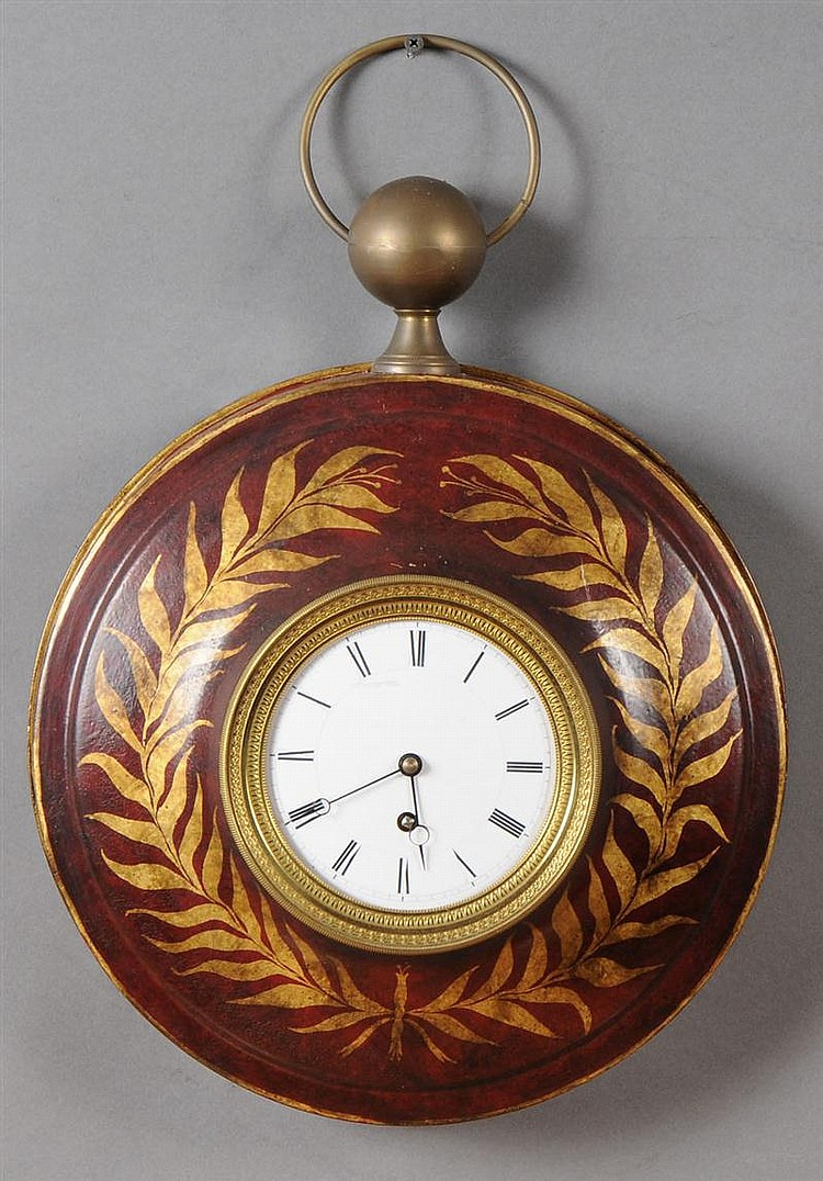 Directoire Style Maroon-Ground Tôle Peinte Watch-Form Wall Clock