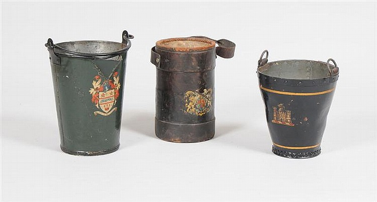 English Armorial Nailed Leather Two-Handled Bucket, a Leather Pail with Royal Coat of Arms and an Armorial Tôle Ash Bucket with Mott...