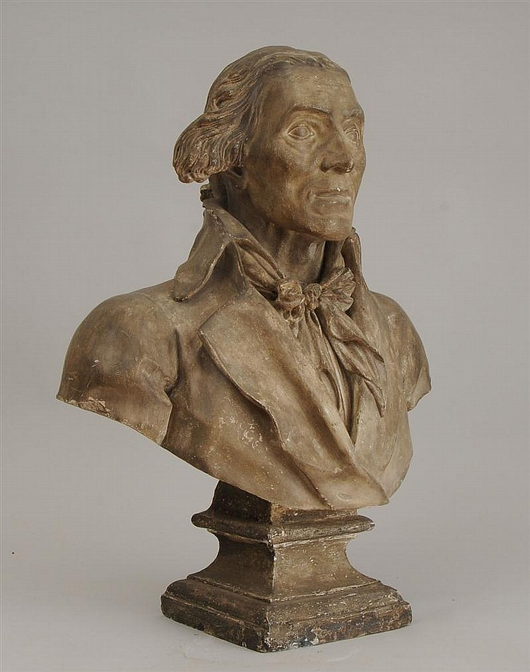 French Gray-Wash Plaster Bust of Robespierre, 1794