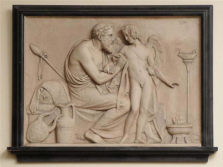 Relief Plaque of Eros Being Tended by a Seated Physician, After the Antique