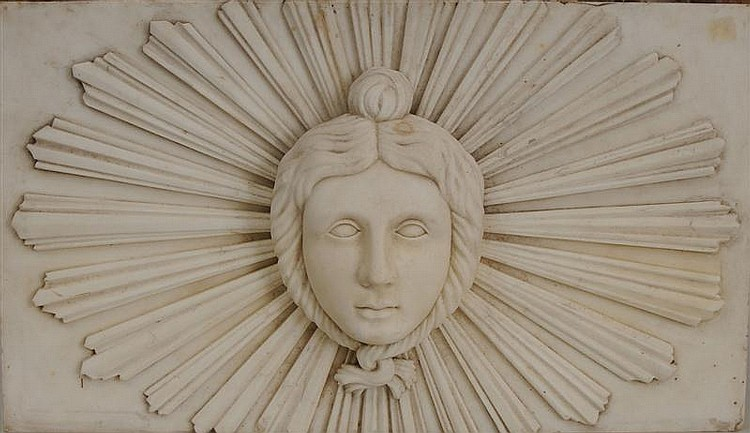 Louis XIV Style Carved White Marble Relief Plaque