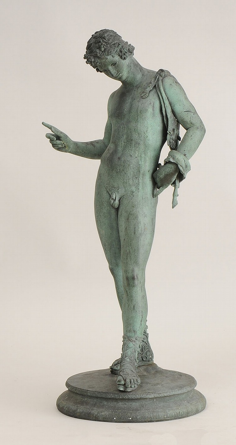 Italian Verdigris-Patinated Metal Figure of Dionysus, After the Antique