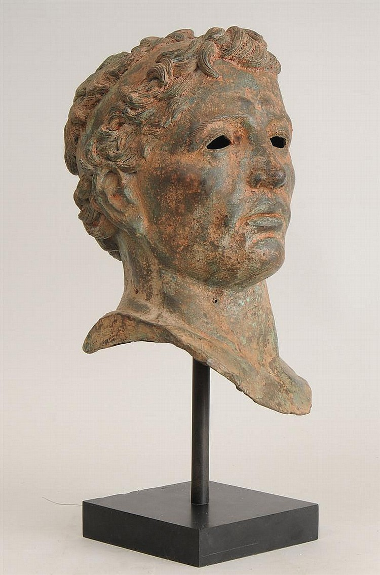 Red-Encrusted Bronze Head of a Man, After the Antique