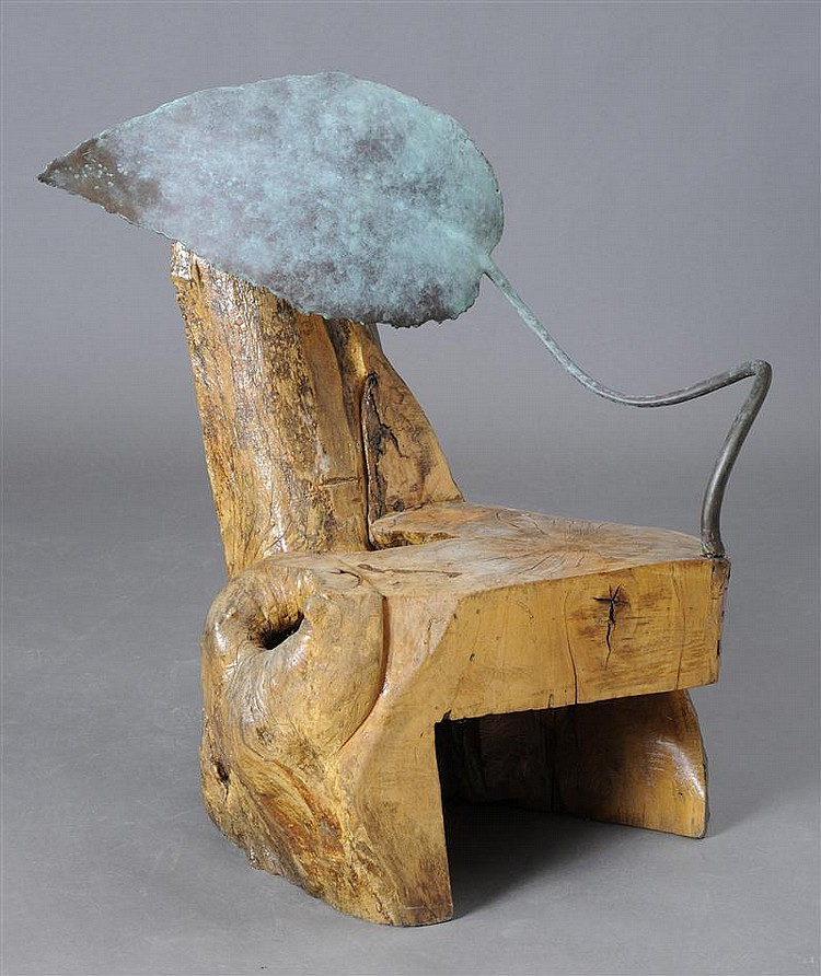 ARTISAN CRAFTED CHAIR WITH TREE TRUNK AND SCULPTED BRONZE LEAF AND STEM