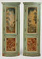 Pair of Italian Polychrome Painted Corner Cupboards
