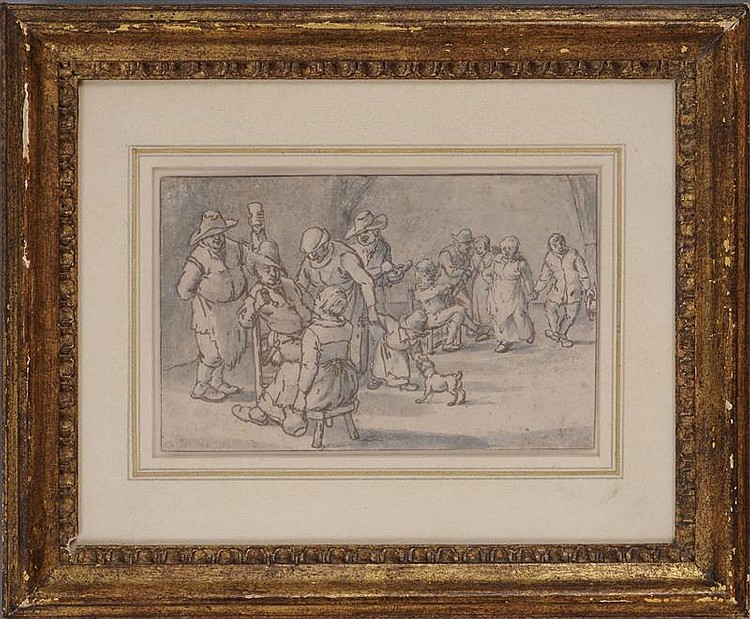 ATTRIBUTED TO ADRIAEN VAN OSTADE: STUDY FOR A FESTIVE GATHERING