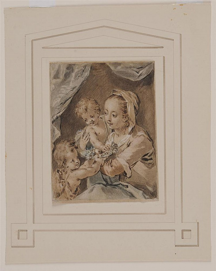 ATTRIBUTED TO FRANCOIS BOUCHER (1703-1770): VIRGIN AND CHILD WITH ST. JOHN THE BAPTIST