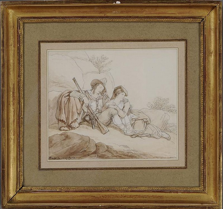 BARTOLOMMEO PINELLI (1781-1835): A COUPLE OF ITALIAN BRIGANDS RESTING