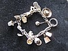 Mexican Silver Charm Bracelet, 16 Charms
