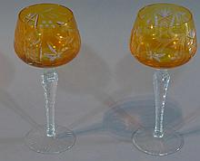 Pair Colored Glass Goblets