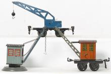 Marklin and Bing O gauge crane cars & stationary crane