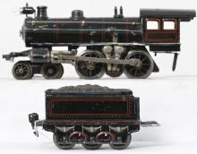 Marklin O gauge 4-4-0 steam locomotive & 6 wheel tender