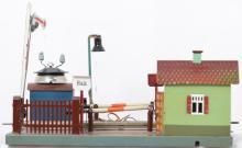 Marklin O gauge crossing with semaphore, shack & fences