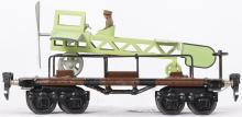Marklin O gauge flat car with reproduction airplane load