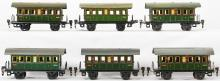 Six Marklin O gauge 17270 third class passenger coaches