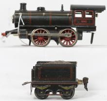 Marklin O gauge clockwork 0-4-0 steam locomotive & tender