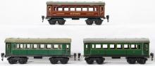 Three Marklin O gauge passenger coaches