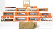 10 Lionel flats with trailers 26021, 52099. 52489, etc. Nassau Lionel Operating