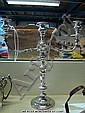 Silver plate three branch candleabra.