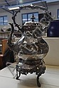 19thC plated kettle on stand.