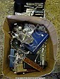 Box of plated ware including tazza cased cutlery,