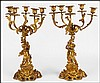 PAIR OF GILT BRONZE FIGURAL FIVE-LIGHT CANDELABRUM.