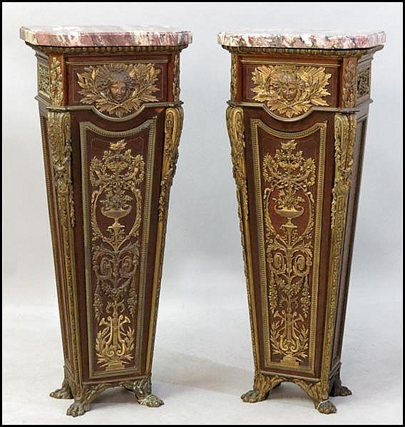 PAIR OF FRENCH BRONZE MOUNTED PEDESTALS.