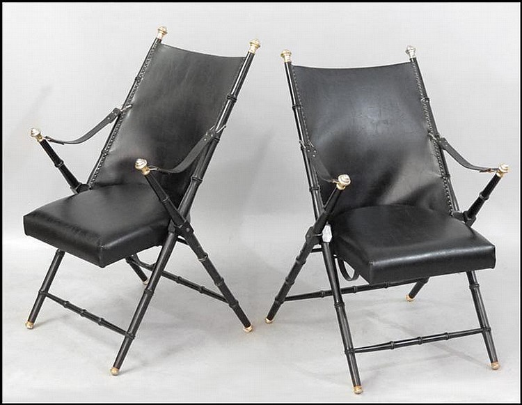 PAIR OF SPANISH BLACK LEATHER CAMPAIGN CHAIRS.