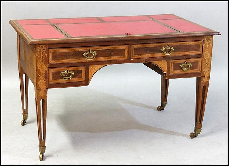 EDWARDIAN STYLE MIXED INLAY DESK.