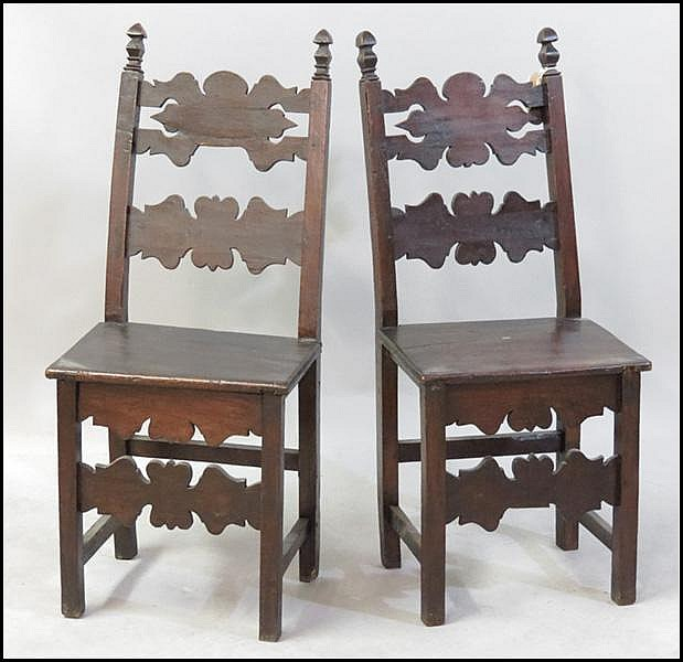 PAIR OF ITALIAN 18TH CENTURY SIDE CHAIRS.