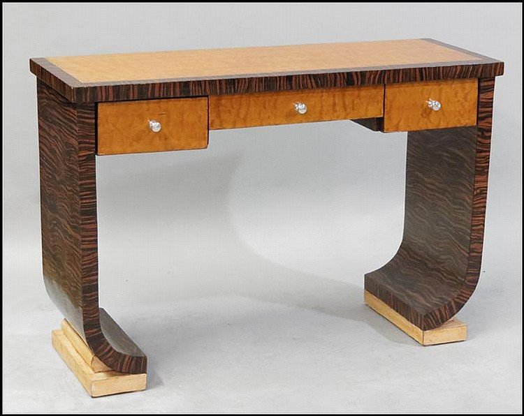 ART DECO BIRD'S EYE MAPLE AND MACASSAR CONSOLE TABLE.