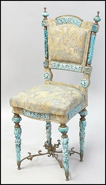 PORCELAIN MOUNTED SIDE CHAIR.