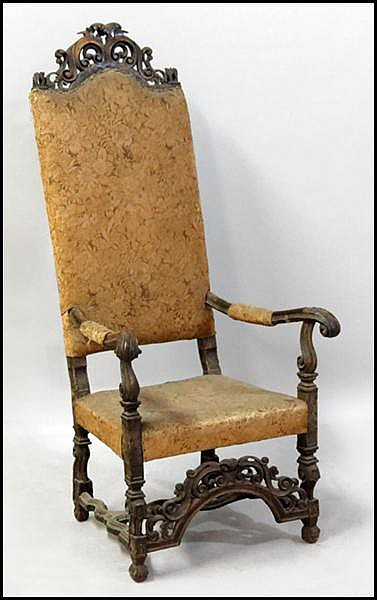 ENGLISH CARVED MAHOGANY THRONE CHAIR.